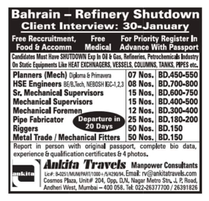CLIENT INTERVIEWS AT BAHRAIN REFINERY SHUT DOWN