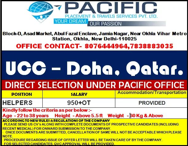 URGENTLY REQUIRED OR UCC- DOHO. QATAR