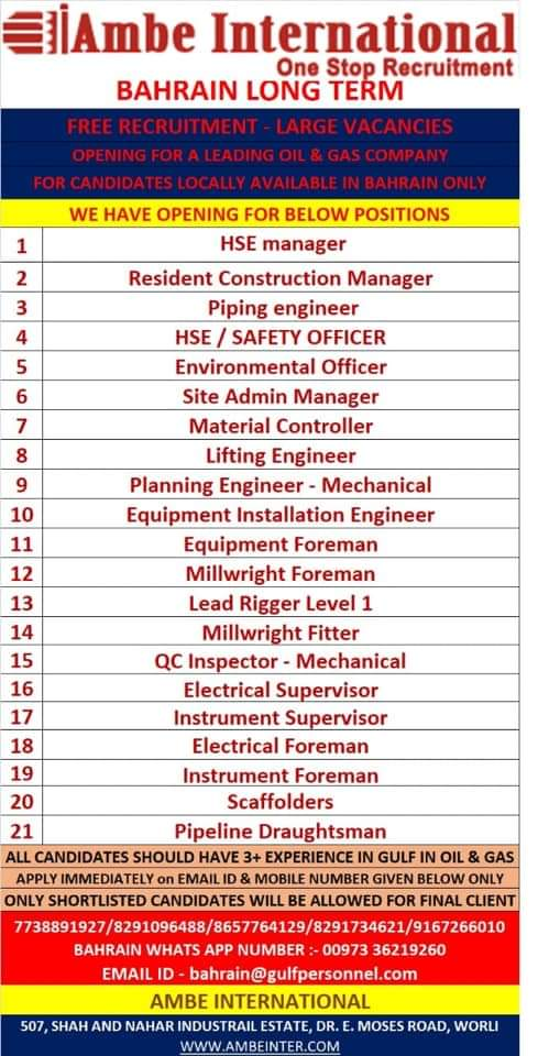 REQUIREMENT FOR BAHRAIN