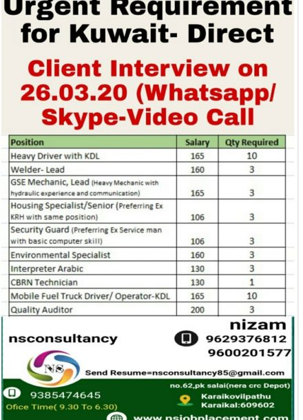 URGENTLY REQUIREMENT FOR KUWAIT