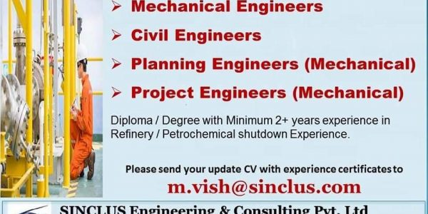 URGENTLY REQUIRED FOR REFINERY MAINTENANCE/ SHUTDOWN PROJECT