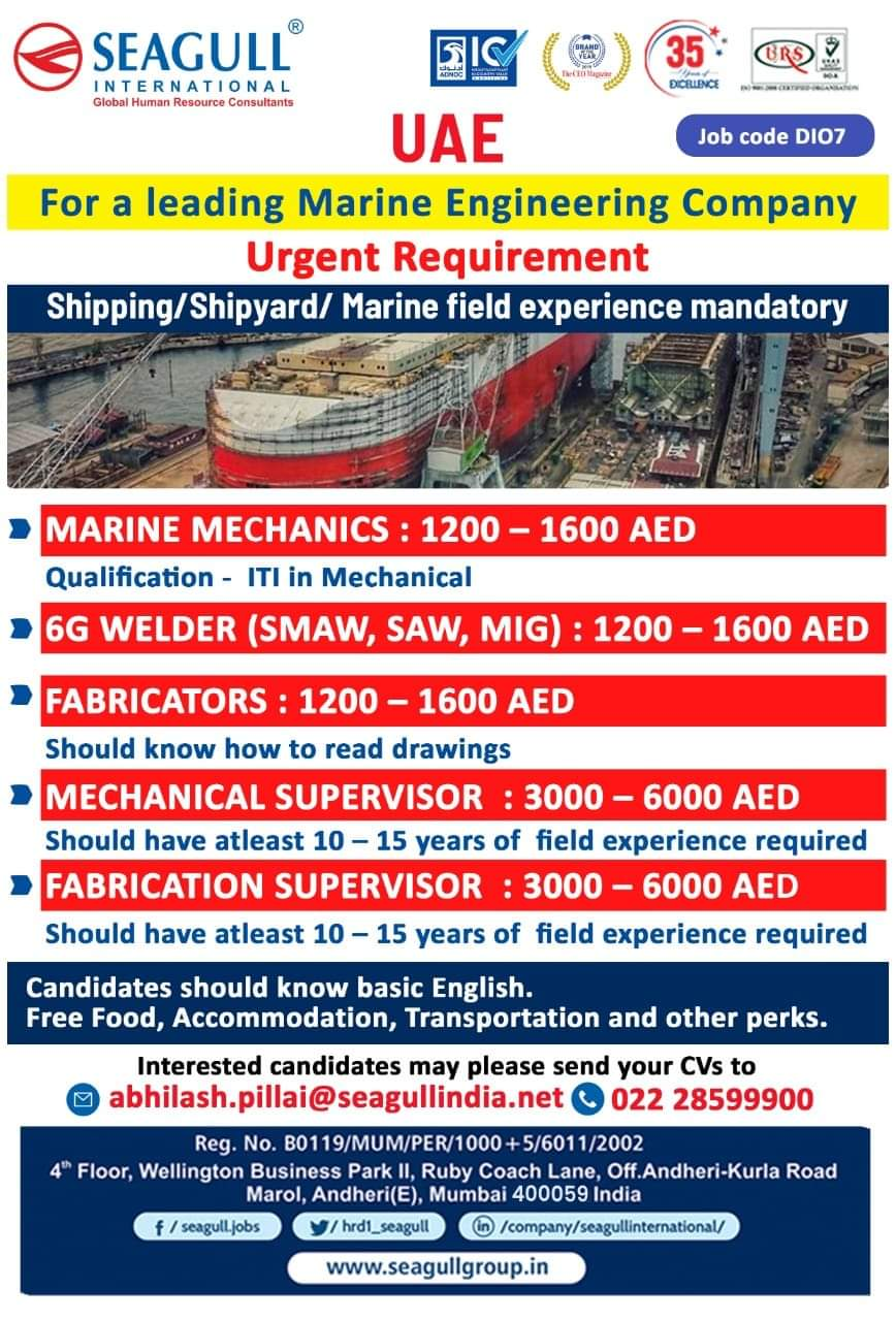 URGENT REQUIREMENT FOR A LEADING MARINE ENGINEERING COMPANY-UAE