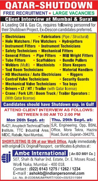 QATAR SHUTDOWN JOB VACANCY