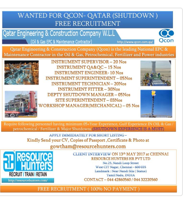 QATAR QCON SHUTDOWN FREE RECRUITMENT
