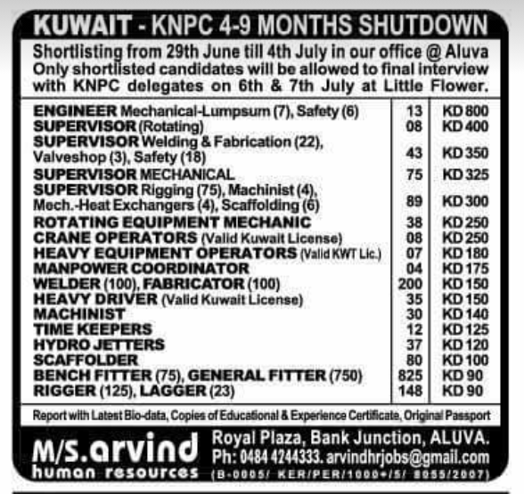IIK JOBS IN KUWAIT KNPC