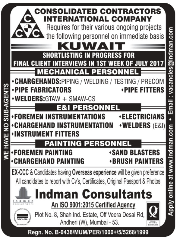 indman consultants mumbai current jobs 2017