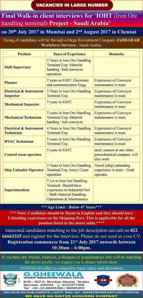 gulf jobs interview in chennai
