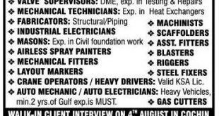 GULF JOBS WALK IN INTERVIEW AT COCHIN