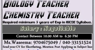TEACHER VACANCY