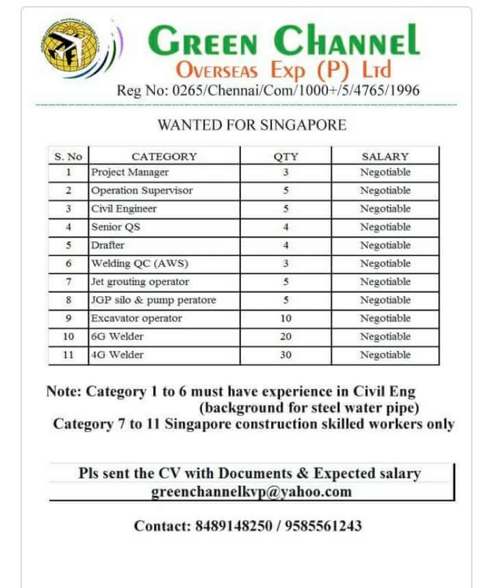 JOB OPPERCHUNITY IN SINGAPORE