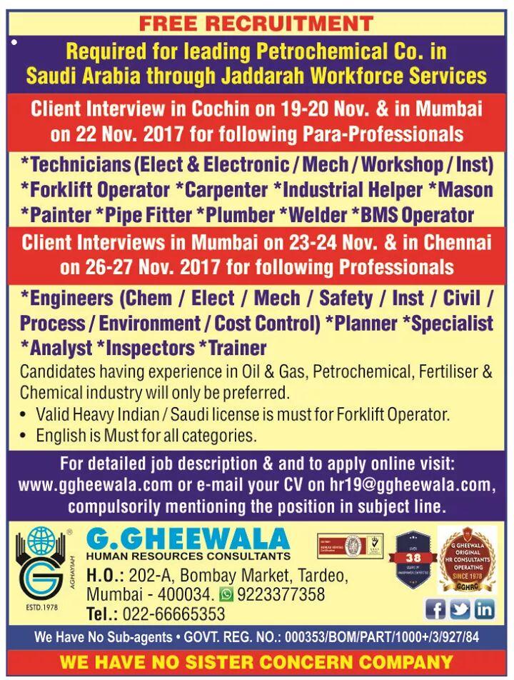 GHEEWALA OVERSEAS JOBS