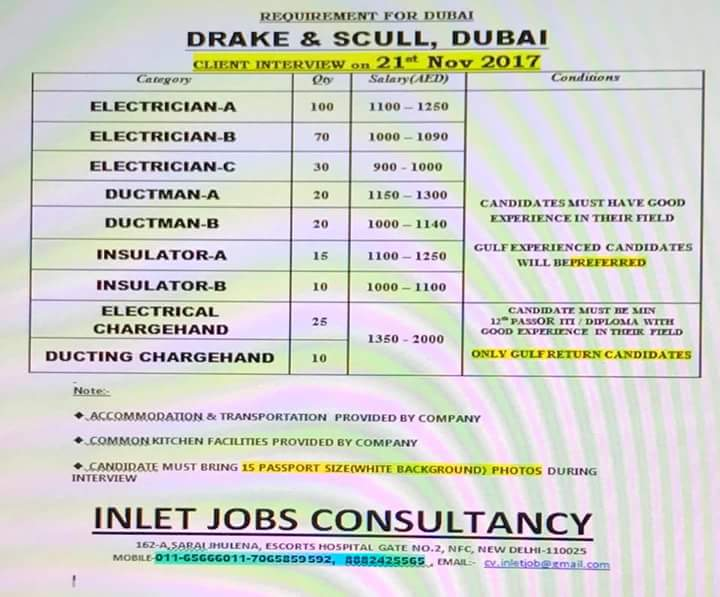 drake and scull vacancies