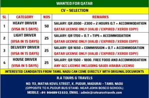 light driver jobs in gulf countries