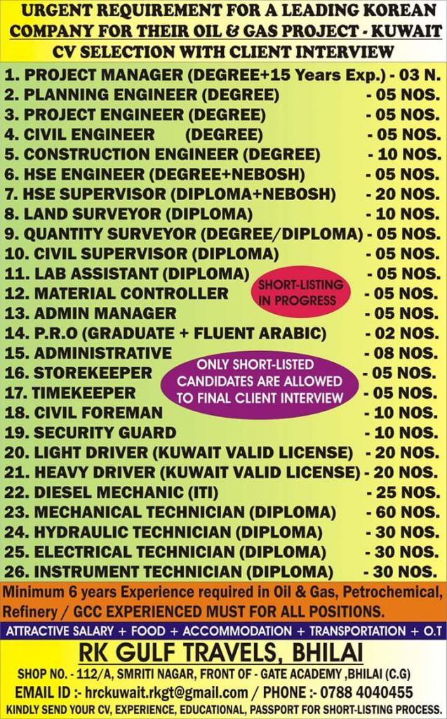 Cv selection jobs in kuwait
