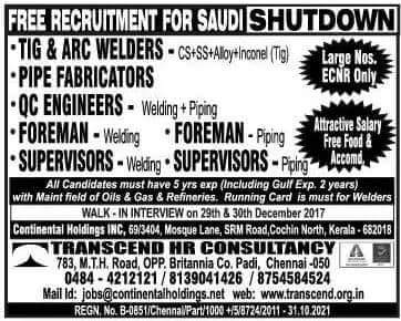 Overseas Shutdown Jobs In Gulf