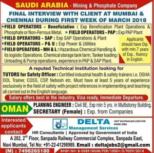 JOBS AT SAUDI ARABIA