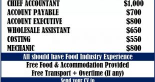 SR ACCOUNT SALARY AND VACANCY