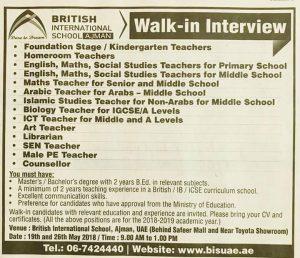 Today S Walk In Interview For Teacher Jobs 2019 September