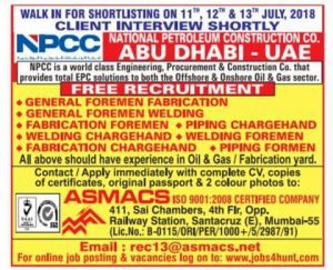 NPCC GULF JOB INTERVIEWS HIGH SALARY August 12, 2019 JOBS AT GULF
