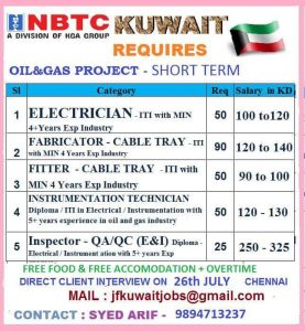 NBTC KUWAIT JOBS LATEST INTERVIEWS August 12, 2019 JOBS AT GULF