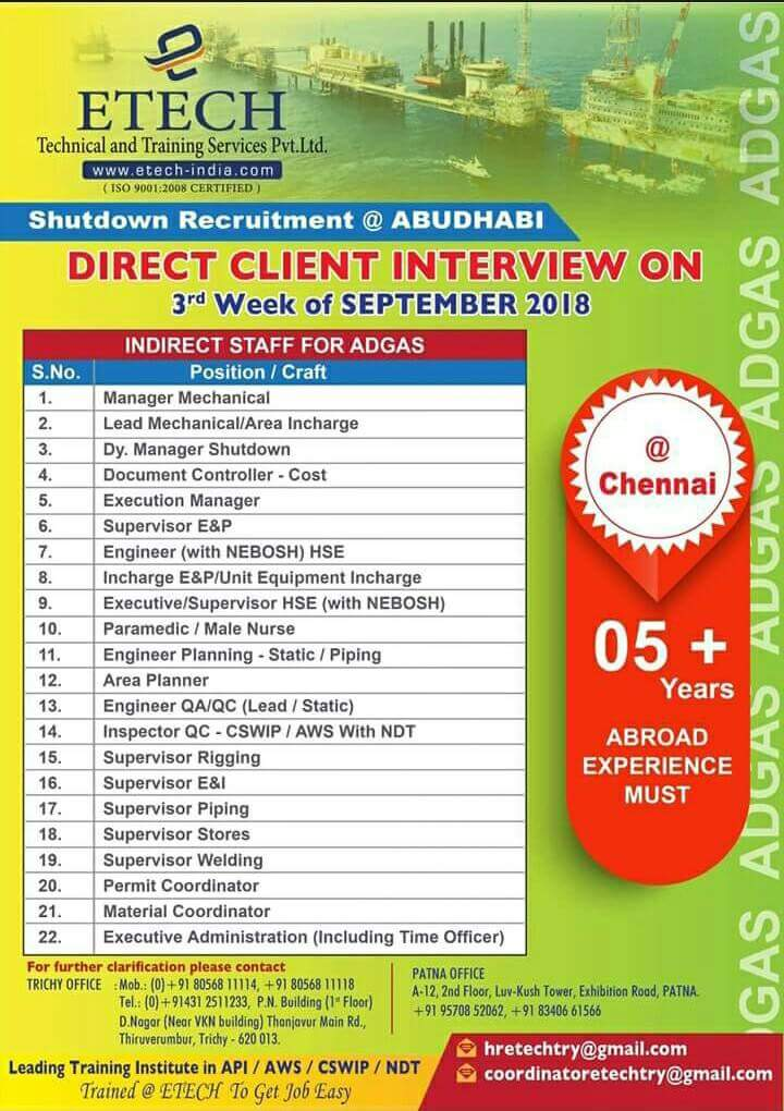 Direct Client Interview For Abroad Jobs In Chennai August