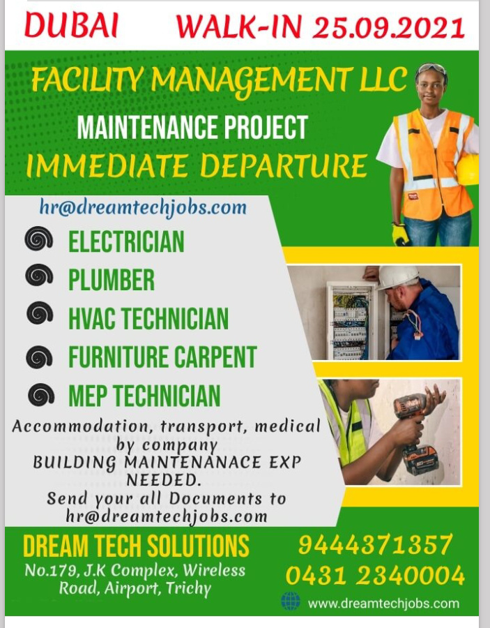 WALK-IN INTERVIEW AT TRICHY FOR DUBAI FACILITY MANAGEMENT LLC MAINTENANCE PROJECT