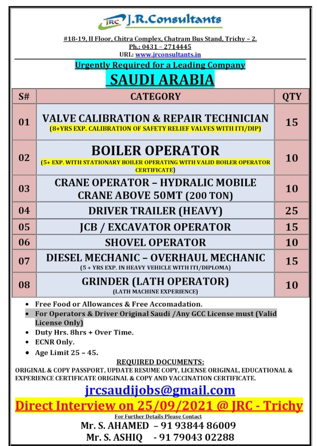WALK-IN INTERVIEW AT TRICHY FOR SAUDI ARABIA LEADING COMPANY