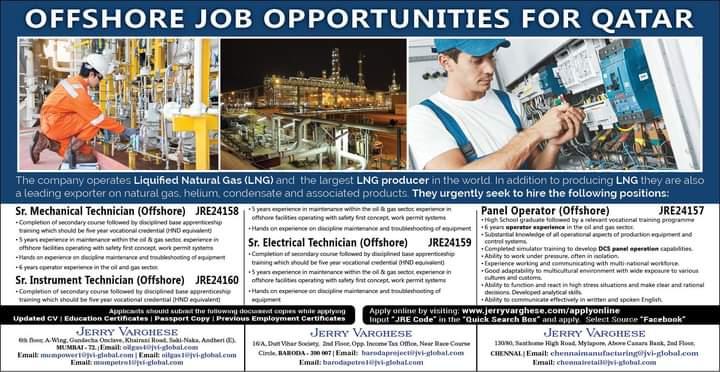 OFFSHORE JOB OPPORTUNITIES FOR QATAR