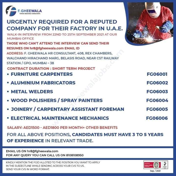 URGENTLY REQUIRED FOR A REPUTED COMPANY FOR THEIR FACTORY IN U.A.E.