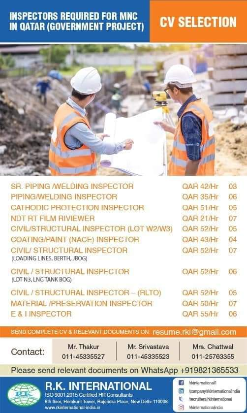 INSPECTORS REQUIRED FOR MNC IN QATAR (GOVERNMENT PROJECT)