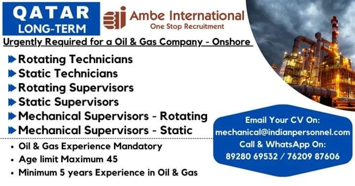 Urgently Required for a Oil & Gas Company – Onshore Qatar