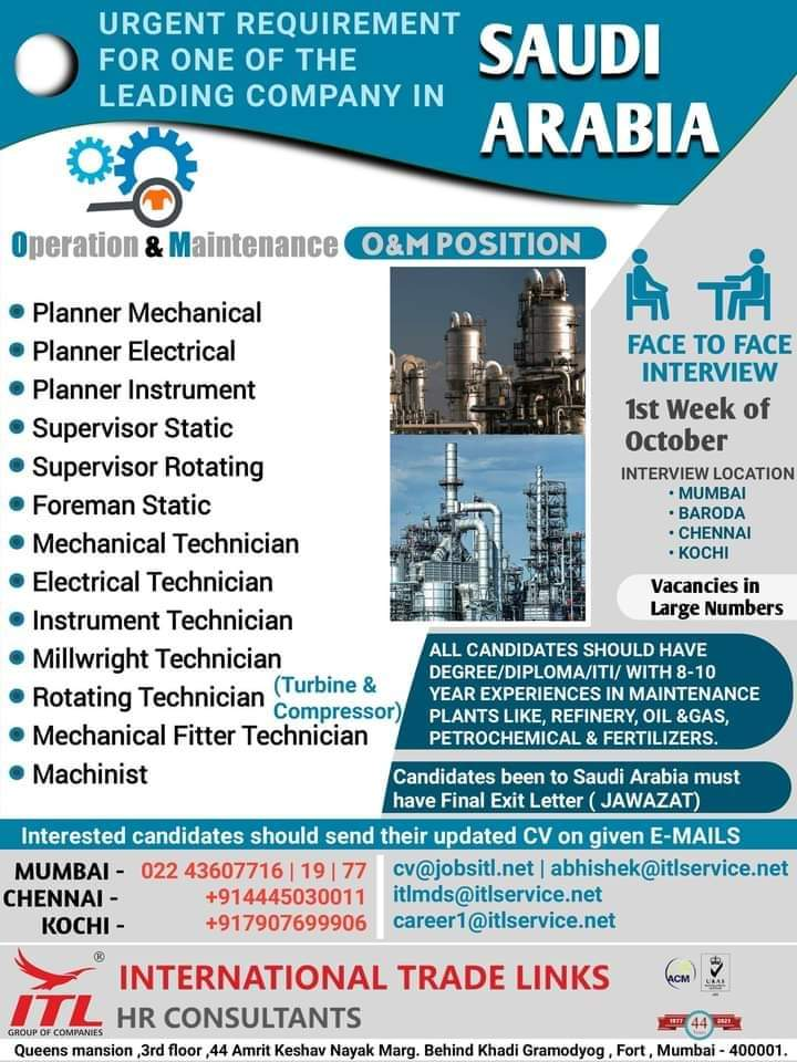 URGENT REQUIREMENT  FOR ONE OF THE LEADING COMPANY IN SAUDI ARABIA