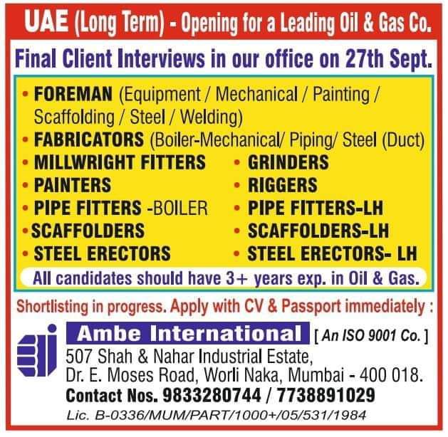 Opening for a Leading Oil & Gas Co in UAE