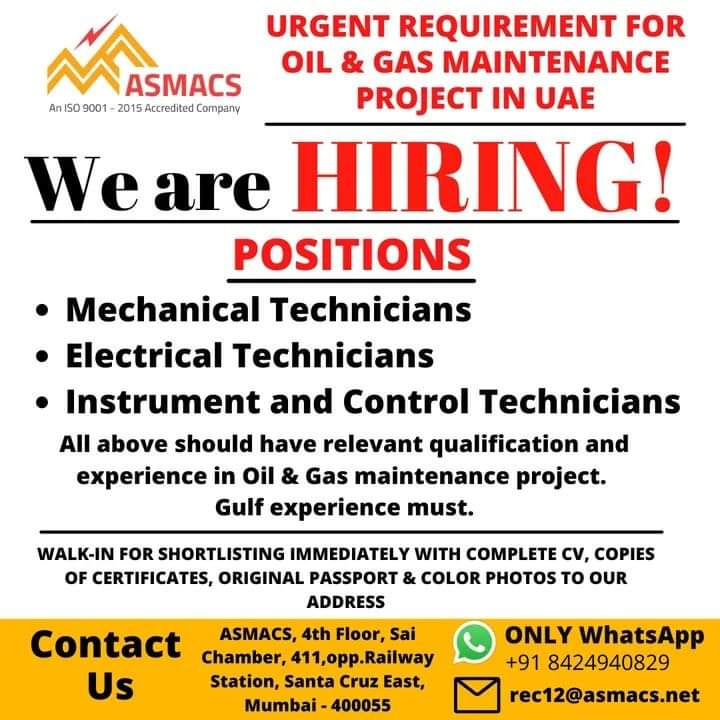 URGENT REQUIREMENT FOR OIL & GAS MAINTENANCE PROJECT IN UAE