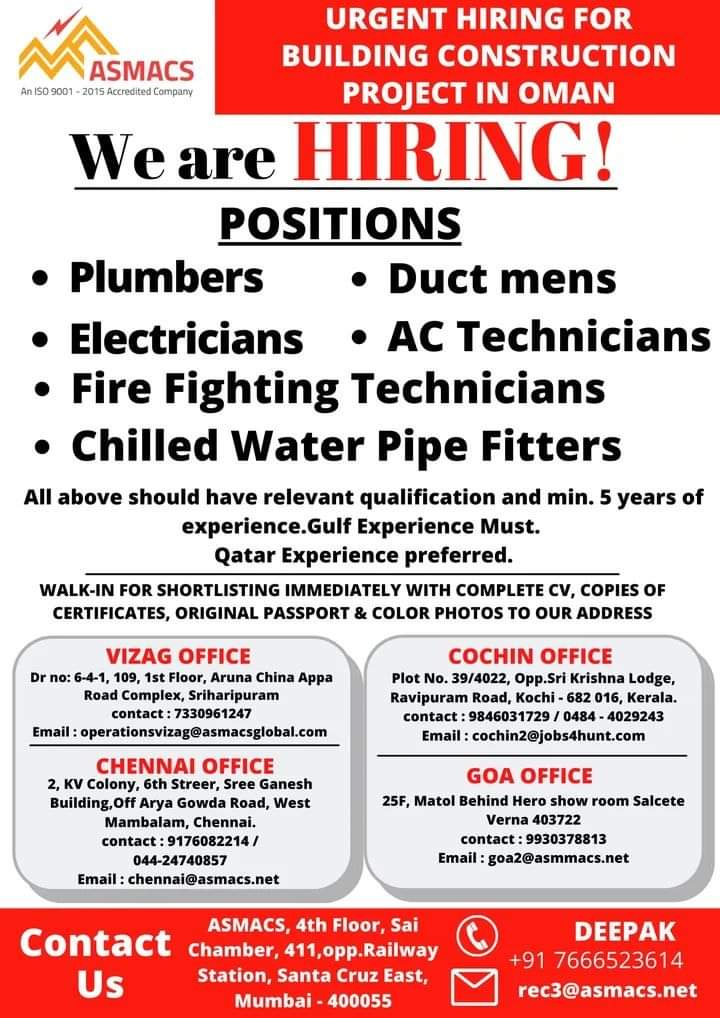 URGENT HIRING FOR BUILDING CONSTRUCTION PROJECT IN OMAN