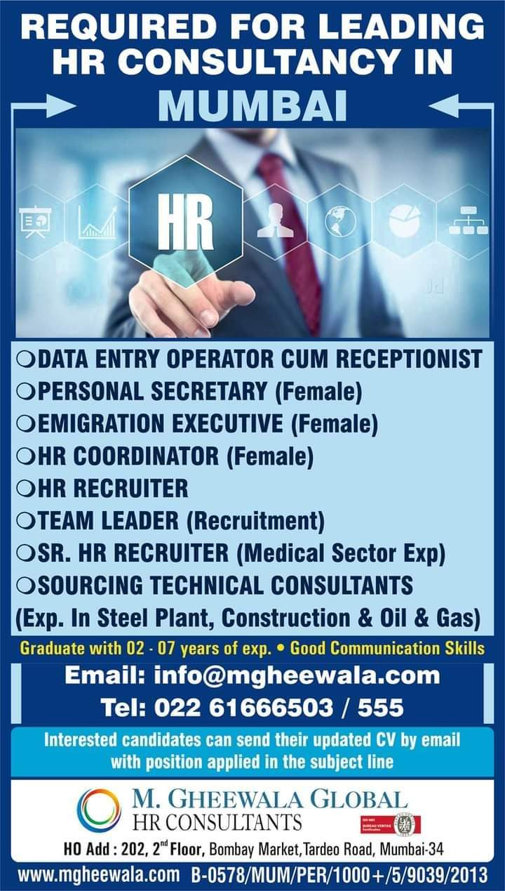 REQUIRED FOR LEADING HR CONSULTANCY IN  MUMBAI
