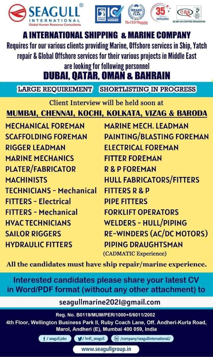 Requires for our various clients providing Marine, Offshore services in Ship, Yatch  repair & Global Offshore services for their various projects in Middle East  are looking for following personnel  DUBAI, QATAR, OMAN & BAHRAIN