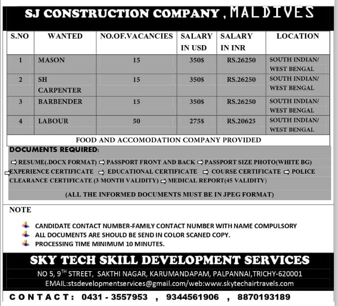 WALK-IN INTERVIEW AT TRICHY FOR MALDIVES SJ CONSTRUCTION COMPANY