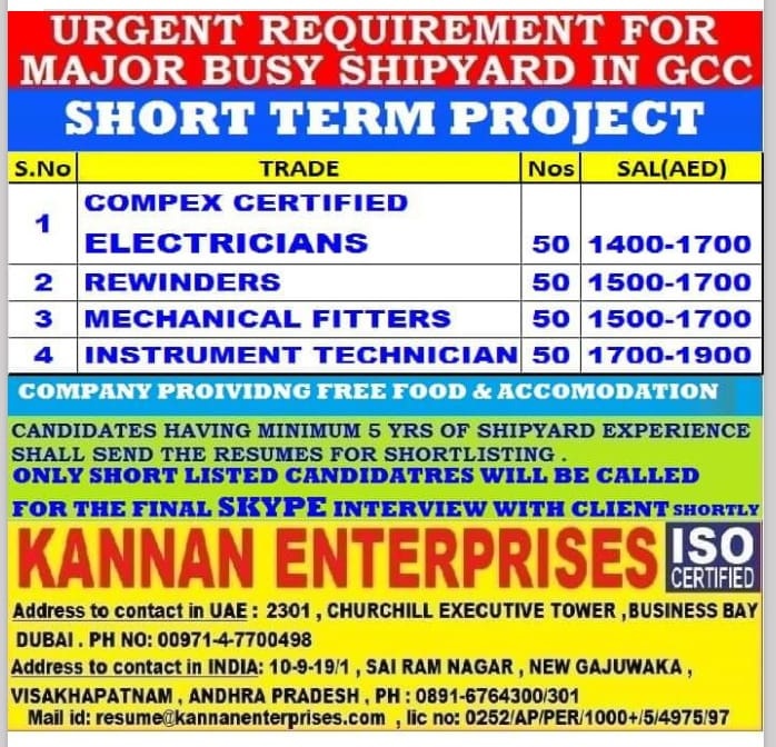 URGENT REQUIREMENT FOR  MAJOR BUSY SHIPYARD IN GCC
