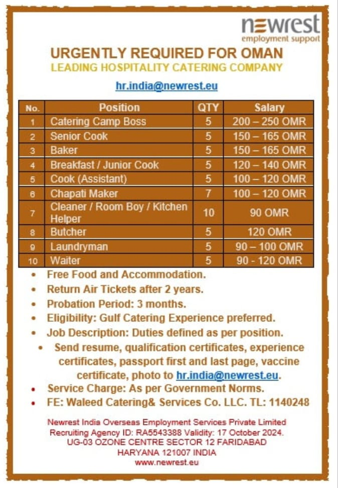 URGENTLY REQUIRED FOR OMAN LEADING HOSPITALITY CATERING COMPANY