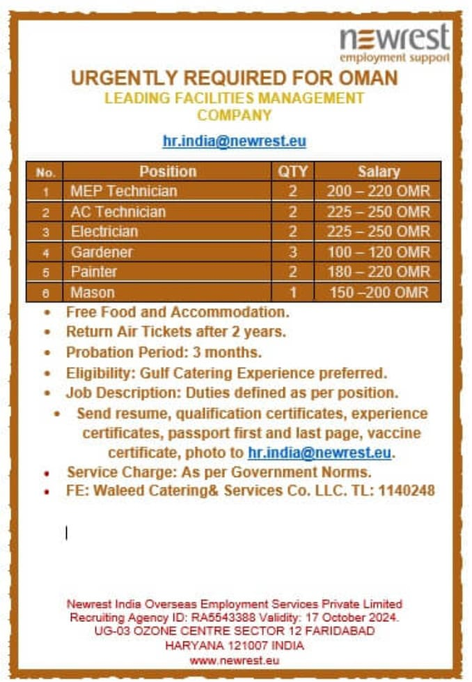 URGENTLY REQUIRED FOR OMAN LEADING FACILITIES MANAGEMENT COMPANY