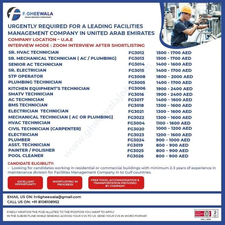 URGENTLY REQUIRED FOR A LEADING FACILITIES  MANAGEMENT COMPANY IN UNITED ARAB EMIRATES