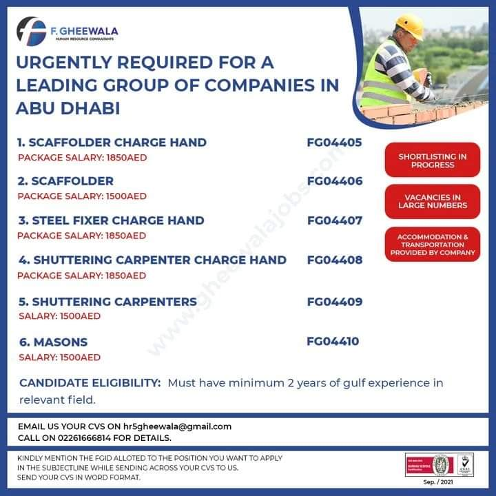 URGENTLY REQUIRED FOR A LEADING GROUP OF COMPANIES IN ABU DHABI