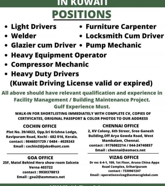 URGENT REQUIREMENT FOR A LEADING COMPANY IN KUWAIT