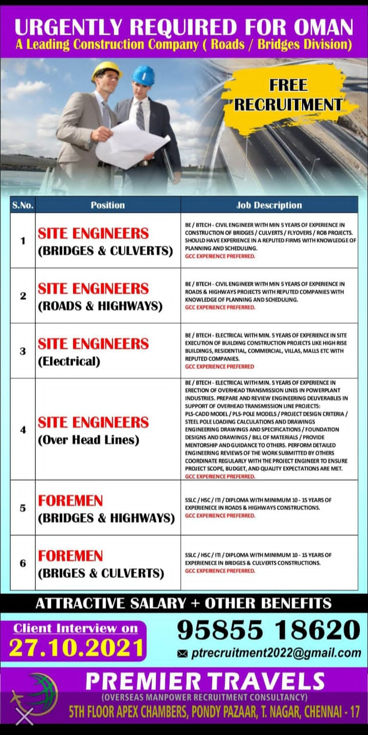URGENT REQUIREMENT FOR A LEADING COMPANY IN OMAN
