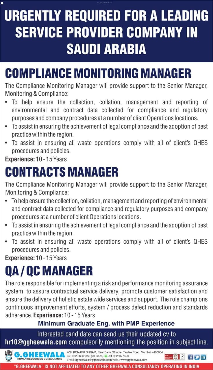 URGENT REQUIRED FOR A LEADING SERVICE PROVIDER COMPANY