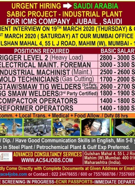 URGENTLY REQUIREMENT FOR SABIC PROJECT