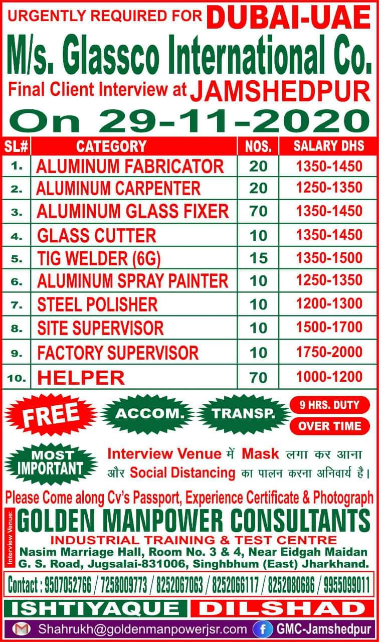 URGENTLY REQUIRED FOR GLASSCO INTERNATIONAL CO-DUBAI