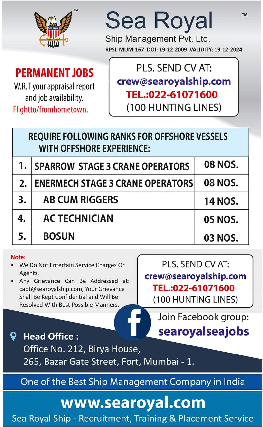 URGENTLY REQUIRED FOR THE SHIP MANAGEMENT COMPANY IN INDIA