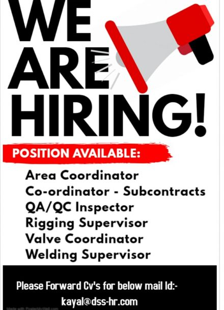 HIRING FOR THE NEW PROJECT IN SAUDI ARABIA
